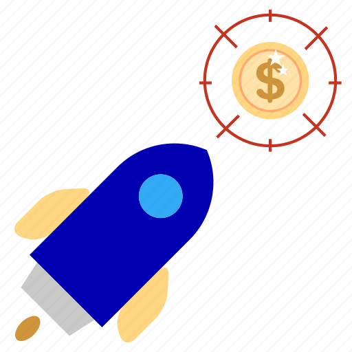 bank, business, currency, finance, office, rocket, target icon