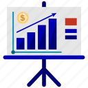 bank, business, chart, finance, graph, office, whiteboard icon