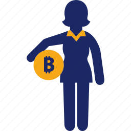 administration, bitcoin, business, money, woman icon