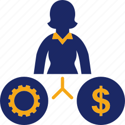 business, gear, job, money, woman icon