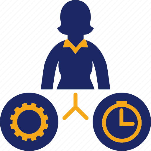 business, gear, job, time, woman icon