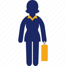 business, enterprise, suitcase, woman icon