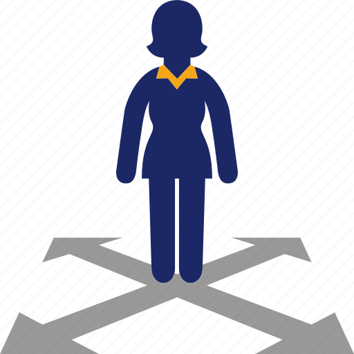 alternatives, arrow, direction, woman icon