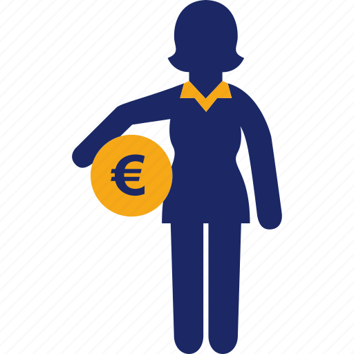 administration, business, euro, money, woman icon