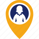 executive, find, map, pin, woman icon