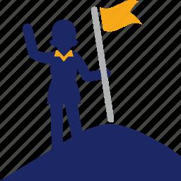 flag, goal, mountain, top, woman icon