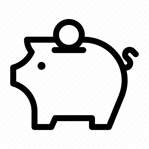 business, collection, money, outlines, pig bank, save, savings icon