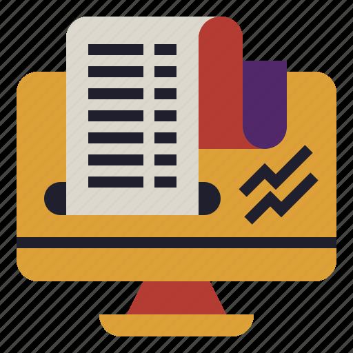 financial, print, receipt, report, stock icon