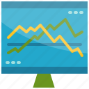 business, chart, computer, graph, growth, monitor, trend icon