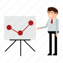 analytics, businessman, graph, man, report, statistics icon