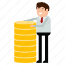 businessman, coins, earnings, gainings, income, man, money icon