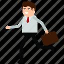 business, businessman, escape, man, run, working icon
