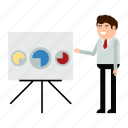 analysis, analytics, businessman, chart, man, report, statistics icon