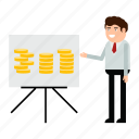 analytics, businessman, coin, finance, income, money, report icon