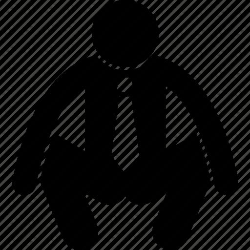 businessman, man, person, squat icon