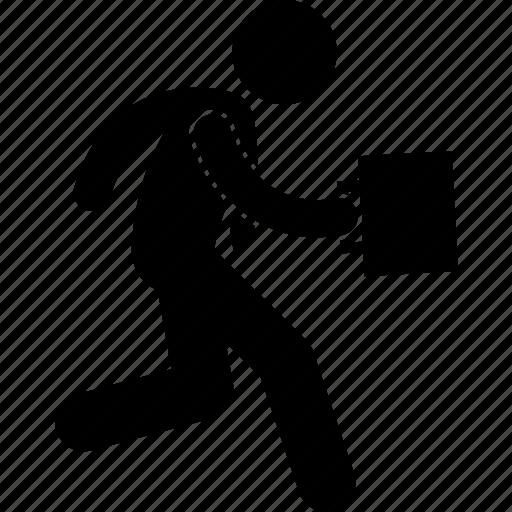 businessman, run, running icon
