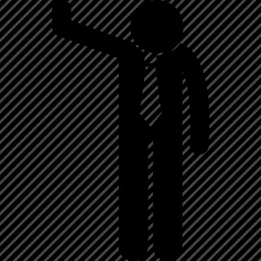 businessman, gesture, halt, hand, stop icon