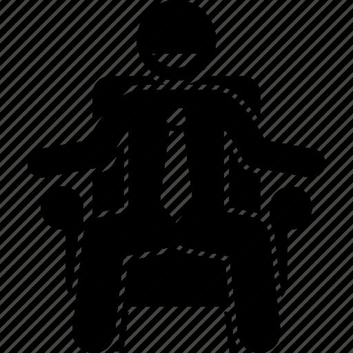 business, businessman, chair, happy, man, sitting icon