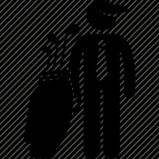 bag, businessman, golf, man, playing icon