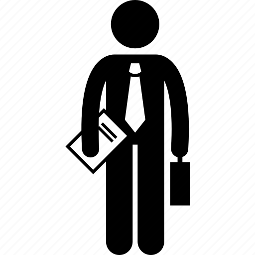 book, businessman, holding, report icon
