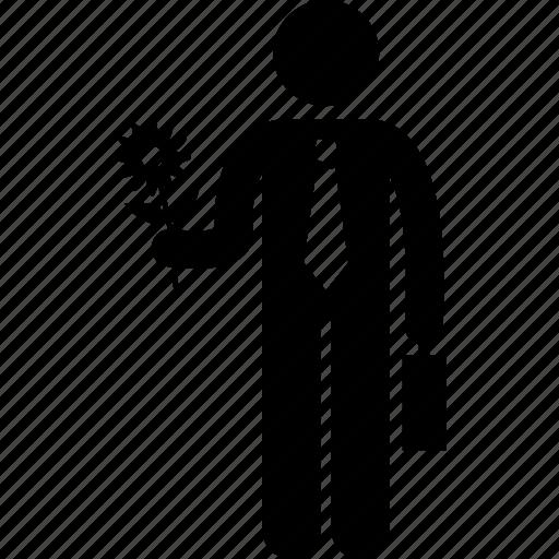 businessman, flower, holding, man icon