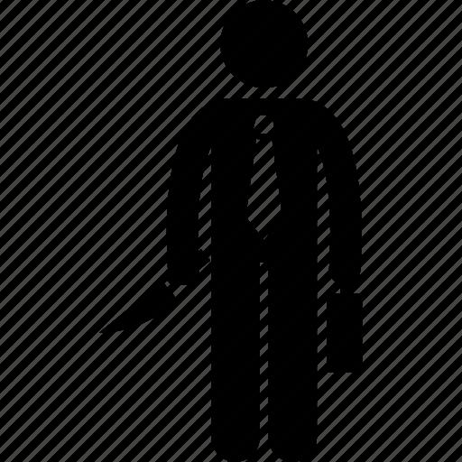 businessman, holding, kill, killer, knife icon