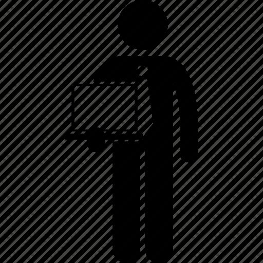 businessman, holding, laptop icon