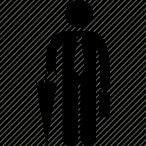 businessman, holding, umbrella icon