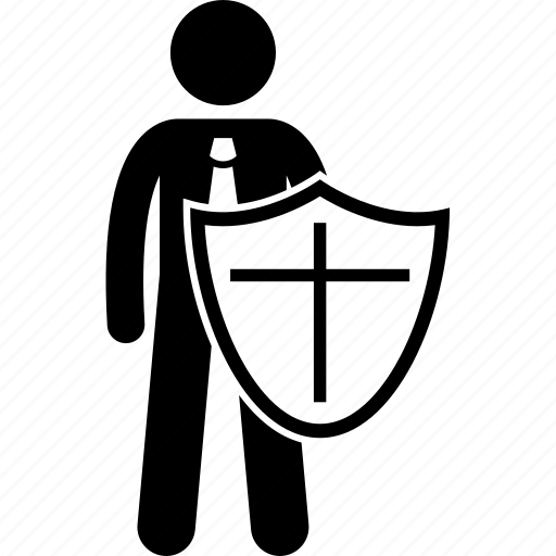 businessman, holding, protect, protection, shield icon