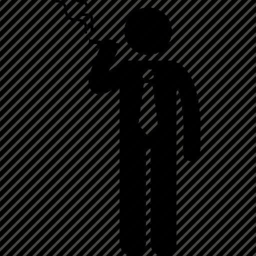 businessman, man, smoke, smoking icon