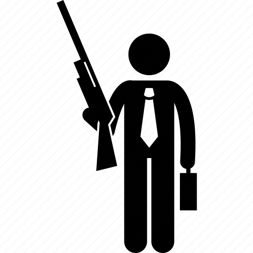businessman, gun, holding, man, shotgun icon