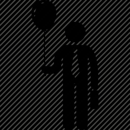 balloon, businessman, holding, man icon