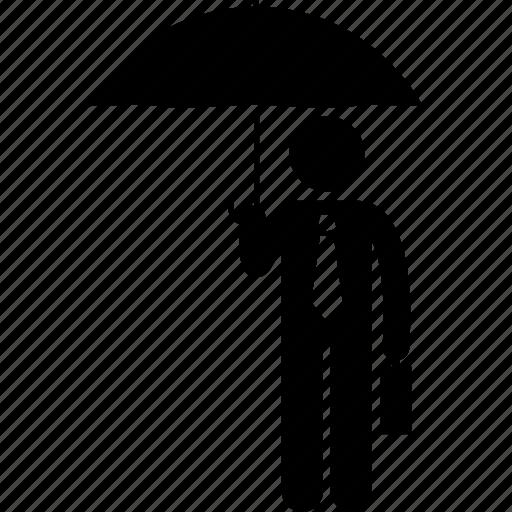 businessman, holding, protection, umbrella icon