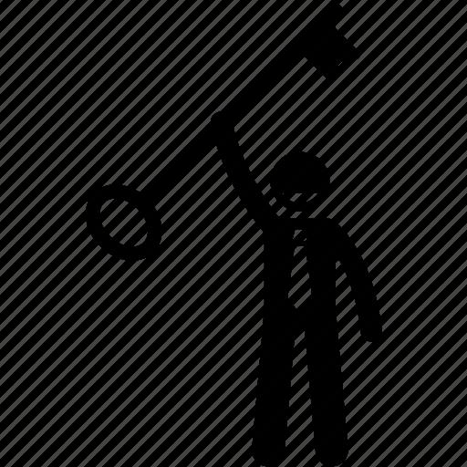 businessman, holding, key, solution icon