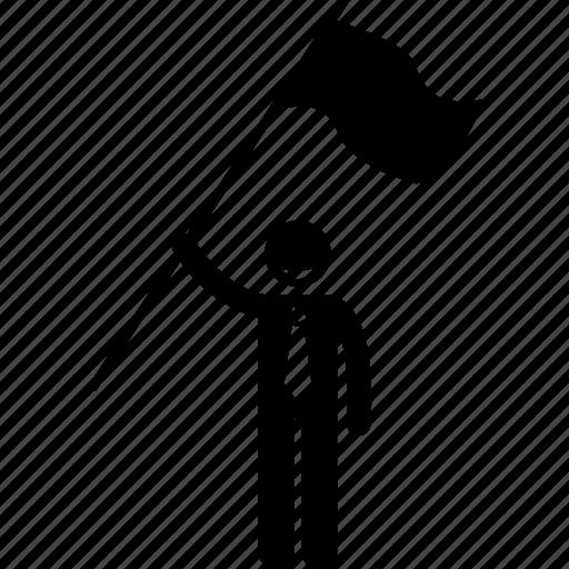businessman, flag, holding, man icon