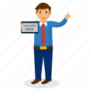 business expert, businessman with board, cartoon character, happy businessman, professional presenter icon