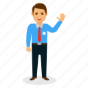 businessman mascot, cartoon character, friendly businessman, happy businessman, man greeting icon