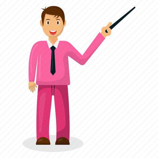 businessman mascot, cartoon character, happy businessman, professional presenter icon