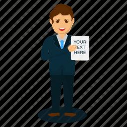 business presentation, policy maker, professional presenter icon