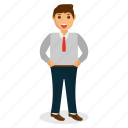 businessman mascot, cartoon character, happy businessman, office worker, smart businessman icon