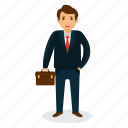 businessman mascot, businessman with briefcase, cartoon character, happy businessman, professional person icon