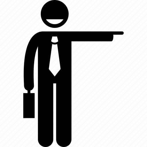 businessman, direction, pointing icon