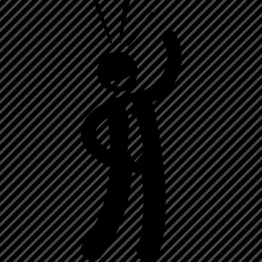 businessman, funny, happy, stick figure icon