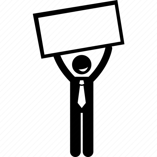 banner, businessman, holding, info icon