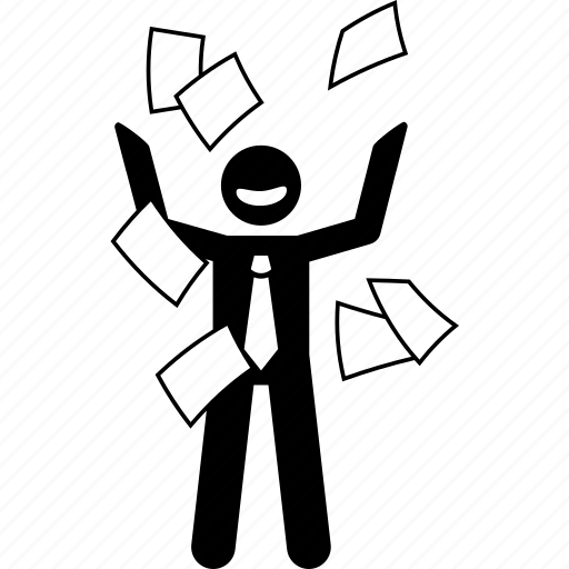 business, businessman, freedom, man, paper, throwing, worker icon