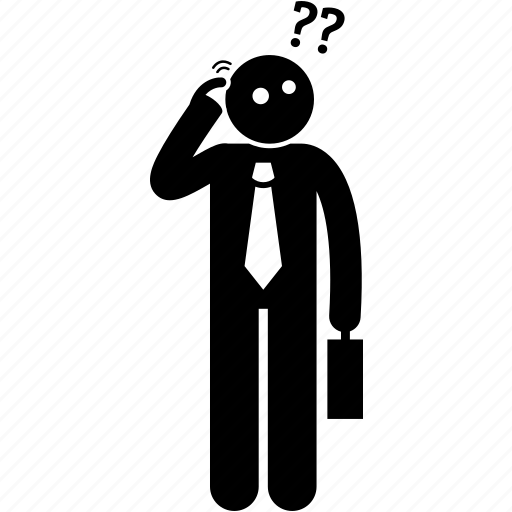 business, businessman, man, puzzle, question, scratching head, thinking icon
