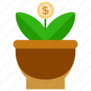 bussines, bussines icon, development, growth, office, office icon, pot icon