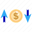bussines, bussines icon, change, dollar, fluctuate, office, office icon icon