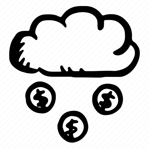cash, cashback, cloud, coin, coins, finance, forecast, money, payment, rain, shopping, weather icon