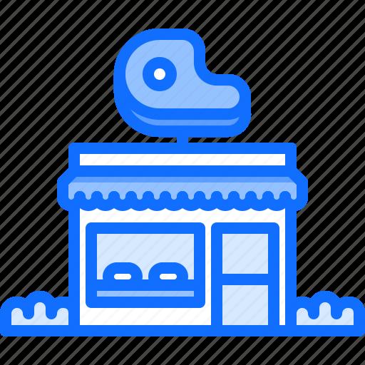 building, butcher, food, meat, shop icon